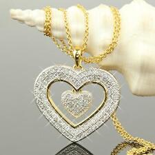 Set Damenkette Herz Anhänger Zirkonia weiß 750 Gold 18Karat vergoldet A1475