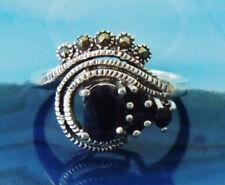 Ω Ring Auge aus Saphir blau Stein des September und Markasit Sterling Silber 925