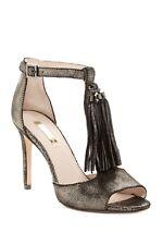 Louise et Cie TAGE Tassel Fringe Stiletto Heel Sandal Suede NIB RED~BLACK~METAL