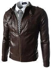 Giacca Giubbotto in Pelle Uomo Men Leather Jacket Veste Blouson Homme Cuir N11h