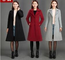 Korean Style Womens Fashion Elegant Slim Dust Coat Wool Blend Long Jacket Coat