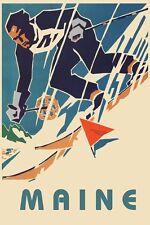 SKI Maine Mountain Skiing Sports Vintage Poster Repro FREE S/H