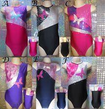 Gymnastics Leotard Tap Dance Black Pink Purple Sparkly Butterfly Razzledazzle UK