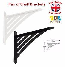 2 x Decorative Shelf Supports Metal Triangular Bracket Black or White 194x200mm