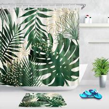 "Green & Gold Exotic Tropical Jungle Leaves Shower Curtain Set Bathroom Decor 72"""