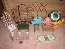 Miniature Fairy Garden Dollhouse Bamboo Bench Chair Mushroom Fence Umbrella