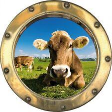 Sticker hublot trompe l'oeil Vache H322