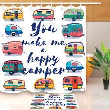 72x72'' Happy Camper Bathroom Waterproof Shower Curtain Liner Fabric & 12 Hooks