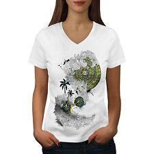 Wellcoda Vintage Aztec Ornament Womens V-Neck T-shirt, Asian Graphic Design Tee