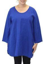 Flax Designs Soft Tunic NWT Linen  Lapis  Medium Large 1X 2X 3X