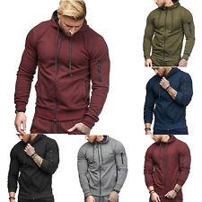UK Mens Zip Up Hoodie Hoody Jacket Sweatshirt Casual Sport Gym Hooded Coats Tops