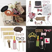 Wedding & Hen Night Photo Booth Props -Bridal Shower Fun & Games- Selfie Kit/Set