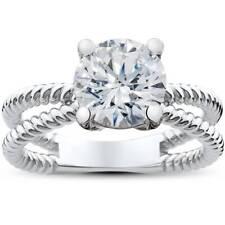 Braided Split Shank Solitaire Engagement Ring Setting 14K White Gold