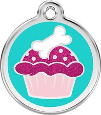 Médaille acier inox chien ou chat red dingo cupcake avec paillettes 3 tailles