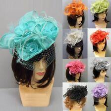 Church Derby Cocktail Fascinator Sinamay Hat Headband Feather Straw Hair Flower