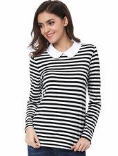 Ladies Peter Pan Collar Bar Long Sleeve Striped Top