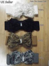 """Señoras Perlas de Imitación Piel & estilo corsé de cintura alta con moño cinturón elástico ancho 2.5"""""""