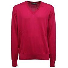 5621W maglione uomo DOLCE & GABBANA silk fuxia v-neck sweater man