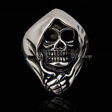 Men's Biker Vintage Skull Angel of Death Grim Reaper 316L Stainless Steel Ring