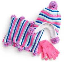 Girl 7-16 Pink Teal Blue Ivory Cold Weather Winter Knit Hat Gloves Scarf Set