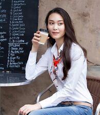 LEONIS Women's Ladies Bodysuit Stretch Shirt White Long Sleeve Button Down