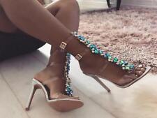 WOmen's High Stilettos Heels Gladiator Rhinestone Cut Out Buckle strappy Sandals