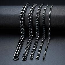 Black Men's Stainless Steel Chain Link Bracelet Wristband Bangle Jewelry Punk