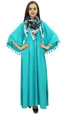 Bimba Femmes Pom Pom Bell Manches Casual Aqua Lache Maxi Dress avec echarpe