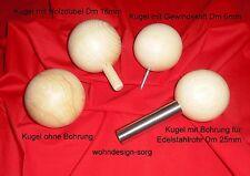Holzkugeln, Buche, 70mm. 80mm, 90mm, 100mm, gebohrt, ungebohrt, mit Gewindestift