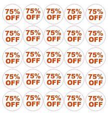 75% Percent Off Sale Sticker Retail Store FLEA MARKET Boutique MADE IN USA #D60