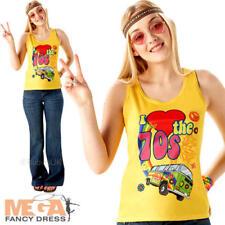 70s Love Top Ladies Fancy Dress 1970s Hippie Groovy Peace Womens Adults Costume