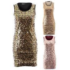Women's Sequin Shiny Round Sleeveless Stretch Bodycon Ladies Short Party Dress