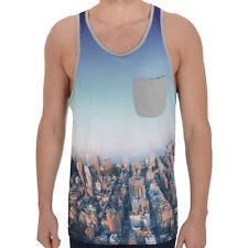 adidas Originals Mens Sleeveless City Print Pocket Vest Tank Top - Blue B Grade