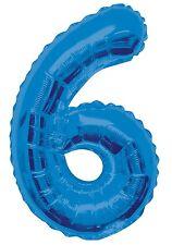 Azul Número 6 6 fiesta cumpleaños gigante con Forma Globo Helio Metalizado