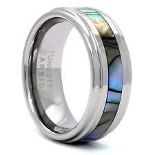 Men's Tungsten Carbide Silver Tone Marble Wedding Band Ring Size 8 9 10 11 12