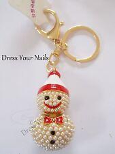 Porte-clés BONHOMME DE NEIGE perles rouge / rouge émail fob bling décoration sac à main charme