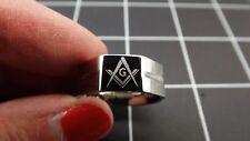 New Stainless Steel Masonic Freemason Square & Compass Blue Lodge Band Ring