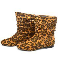 Para Mujer señoras LEOPARDO Suede Zapatos Planos tirar de Chelsea Riding Botines fb-490