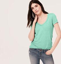 NWT Ann Taylor Loft Turquoise Tint Pointelle VNeck Easygoin LINEN Shirt $29 XS-M