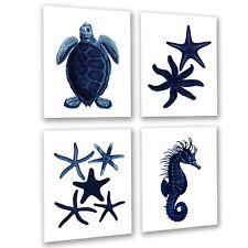 Dark Navy Beach Decor C1 set of 4 unframed sea turtle seahorse starfish