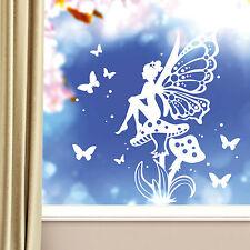 11081 Wandtattoo Fenster Aufkleber Elfe Pilz Schmetterlinge Punkte Märchen Fee