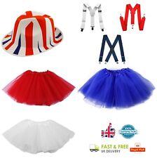 Ladies Royal Wedding Fancy Dress Gangster Halloween Tutu Hat Suspender Braces UK
