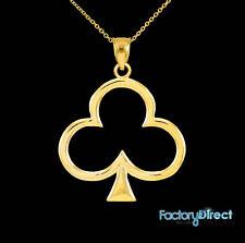 10k 14k GOLD LUCKY SHAMROCK FOUR-LEAF CLOVER  NECKLACE CHAIN IRISH CHARM