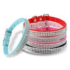Banda de Diamantes de Imitación de Cristal Bling diamante de Lujo de Cuero PU Perro Gato Mascota Collar UK