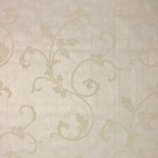 Portofino Flocking Embossed Wallpaper Ivory Gold Textured Flocked Damask Roll 3D