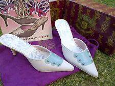 Christian Audigier White Blue High Heel Shoes  Leather High Heel pumps 6-10US