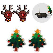 5 Pair Resin Anallergic Women Christmas Tree Pierced Studs XMAS Earrings Elk