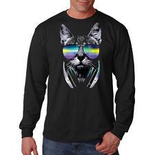 Men's DJ Cat Long Sleeve Black T Shirt Cool Sunglasses College Party Rave Tee