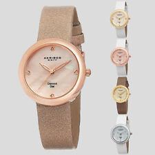 Women's Akribos XXIV AK687 Swiss Mother of Pearl Genuine Diamond Satin Watch