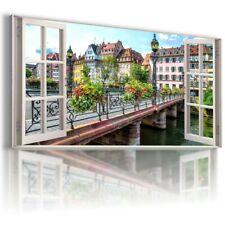 "FRANCE PARIS 3D Window View Canvas Wall Art Picture Large SIZE 20X40"" W404"